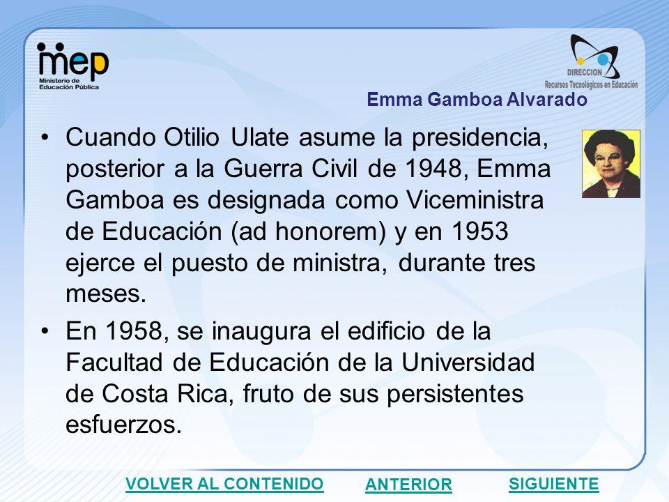 En 1960, contribuye para la creación de la Escuela Nueva Laboratorio (primaria laboratorio), concertando para tal efecto un convenio entre la Universidad de Costa Rica y el Ministerio de Educación Pública.