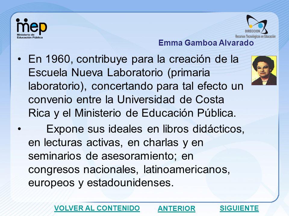 A inicios de 1965, realiza un viaje a los Estados Unidos con su sucesora en la decanatura, María Eugenia Dengo Obregón, para presentarla ante las universidades norteamericanas, de las cuales obtuvo gran apoyo.
