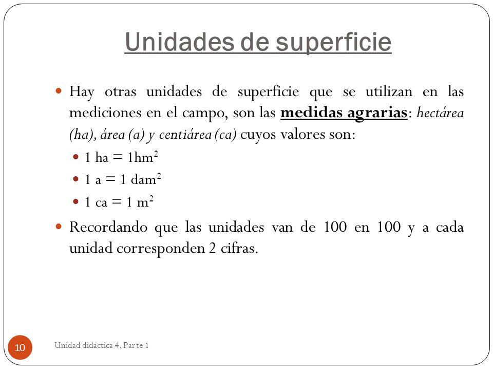 Unidad didáctica 4, Parte 1 10 Hay otras unidades de superficie que se utilizan en las mediciones en el campo, son las medidas agrarias: hectárea (ha)