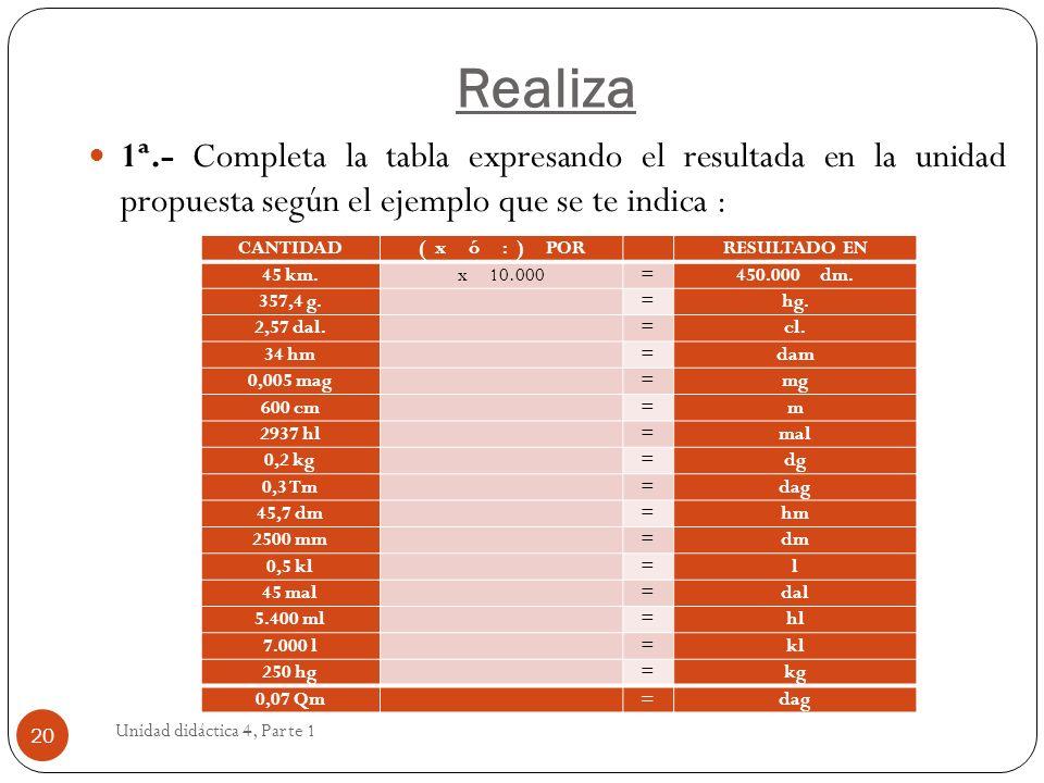 Realiza Unidad didáctica 4, Parte 1 20 1ª.- Completa la tabla expresando el resultada en la unidad propuesta según el ejemplo que se te indica : CANTI