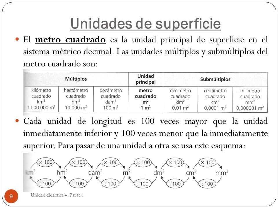 Unidad didáctica 4, Parte 1 10 Hay otras unidades de superficie que se utilizan en las mediciones en el campo, son las medidas agrarias: hectárea (ha), área (a) y centiárea (ca) cuyos valores son: 1 ha = 1hm 2 1 a = 1 dam 2 1 ca = 1 m 2 Recordando que las unidades van de 100 en 100 y a cada unidad corresponden 2 cifras.