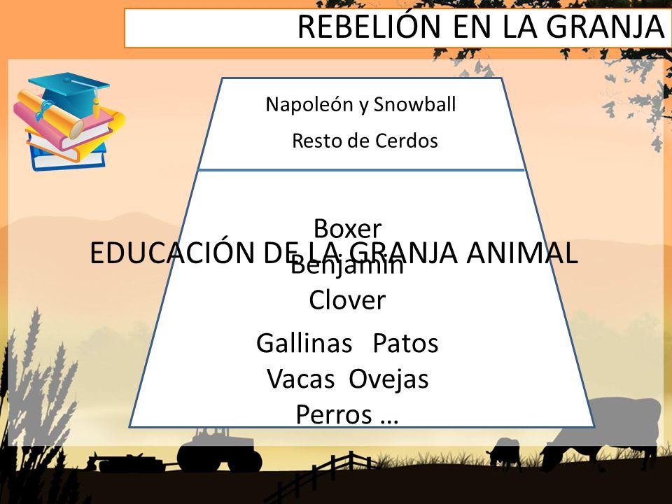 REBELIÓN EN LA GRANJA Napoleón y Snowball Resto de Cerdos Boxer Benjamin Clover Gallinas Patos Vacas Ovejas Perros … EDUCACIÓN DE LA GRANJA ANIMAL