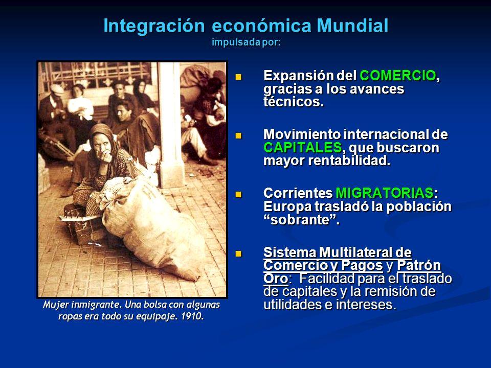 Integración económica Mundial impulsada por: Expansión del COMERCIO, gracias a los avances técnicos. Expansión del COMERCIO, gracias a los avances téc
