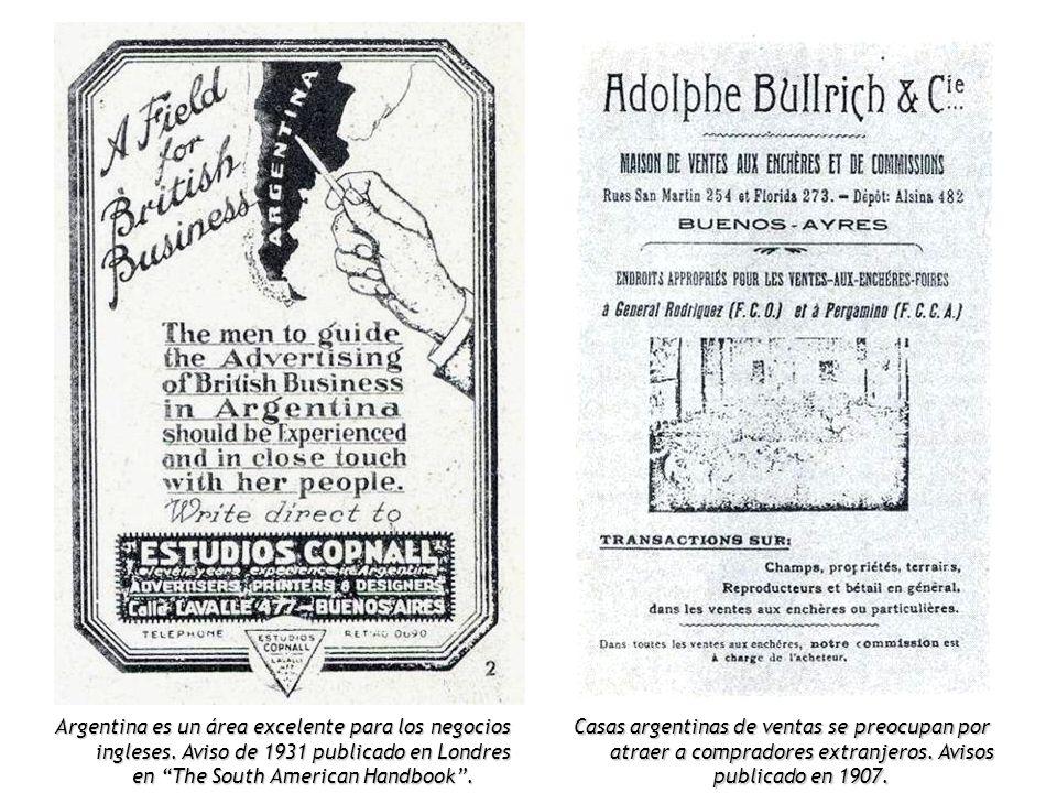Argentina es un área excelente para los negocios ingleses. Aviso de 1931 publicado en Londres en The South American Handbook. Casas argentinas de vent