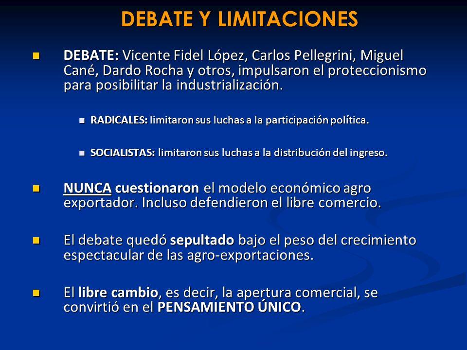 DEBATE Y LIMITACIONES DEBATE: Vicente Fidel López, Carlos Pellegrini, Miguel Cané, Dardo Rocha y otros, impulsaron el proteccionismo para posibilitar