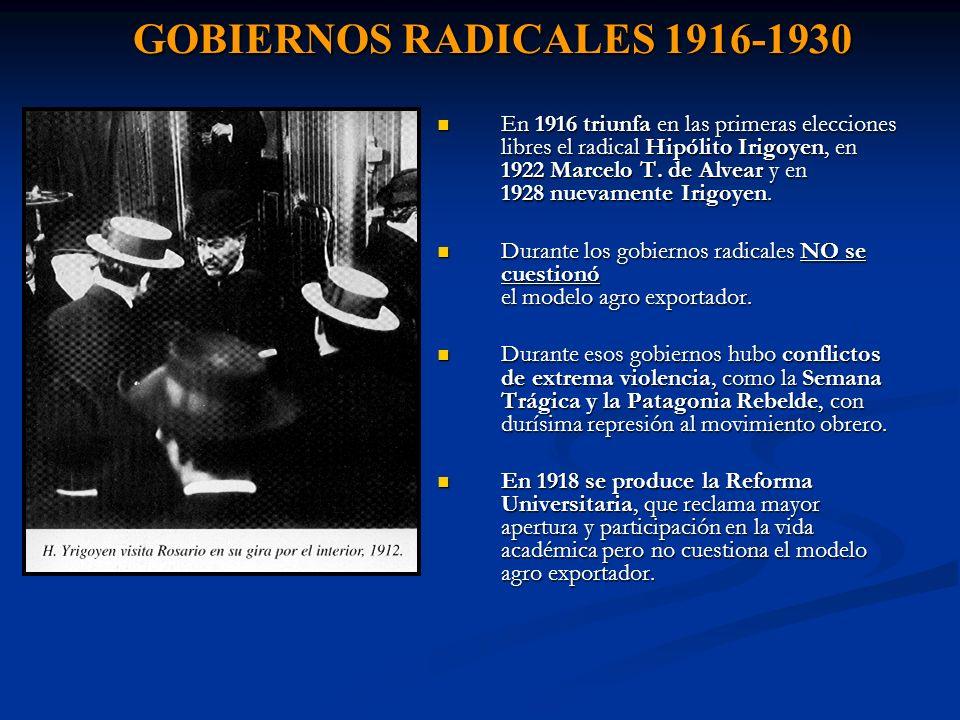 GOBIERNOS RADICALES 1916-1930 En 1916 triunfa en las primeras elecciones libres el radical Hipólito Irigoyen, en 1922 Marcelo T. de Alvear y en 1928 n