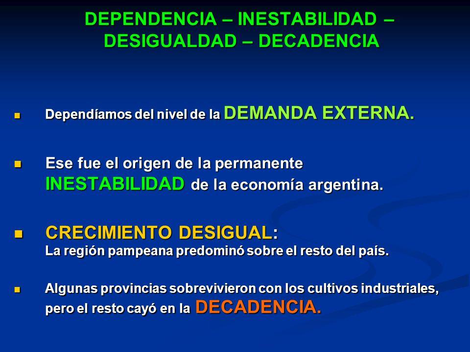 DEPENDENCIA – INESTABILIDAD – DESIGUALDAD – DECADENCIA Dependíamos del nivel de la DEMANDA EXTERNA. Dependíamos del nivel de la DEMANDA EXTERNA. Ese f