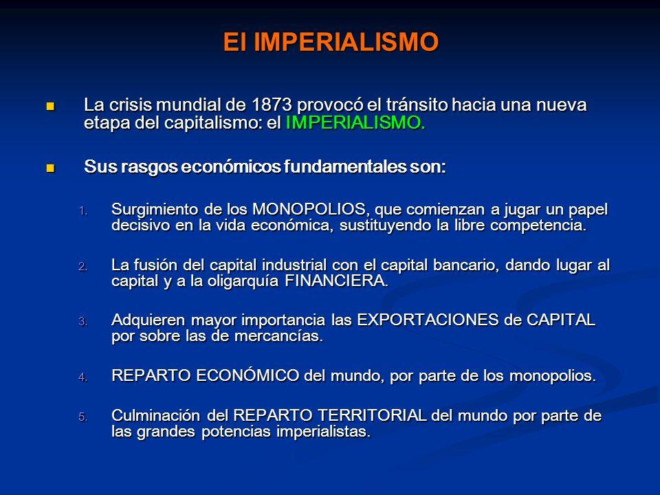 El IMPERIALISMO La crisis mundial de 1873 provocó el tránsito hacia una nueva etapa del capitalismo: el IMPERIALISMO. La crisis mundial de 1873 provoc