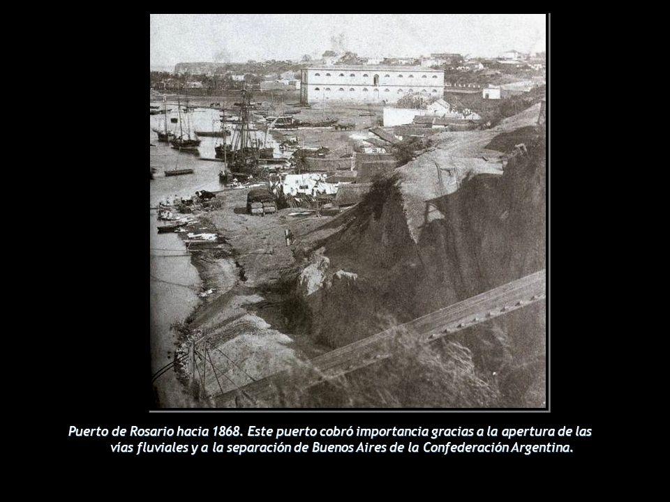 Puerto de Rosario hacia 1868. Este puerto cobró importancia gracias a la apertura de las vías fluviales y a la separación de Buenos Aires de la Confed
