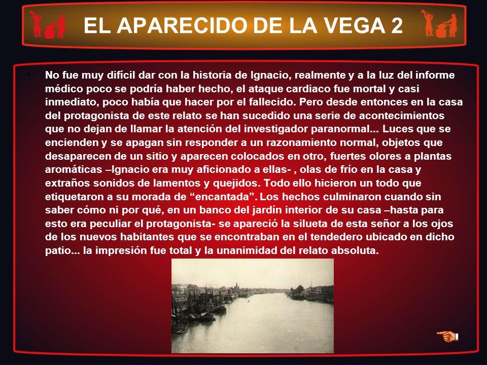 EL APARECIDO DE LA VEGA 2 No fue muy difícil dar con la historia de Ignacio, realmente y a la luz del informe médico poco se podría haber hecho, el at
