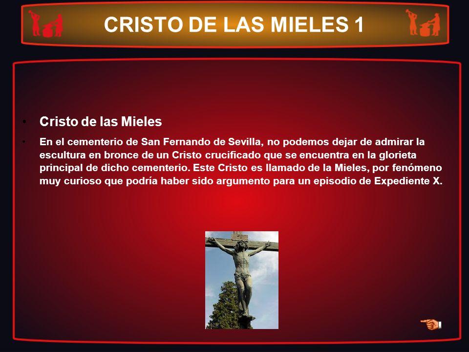 CRISTO DE LAS MIELES 1 Cristo de las Mieles En el cementerio de San Fernando de Sevilla, no podemos dejar de admirar la escultura en bronce de un Cris