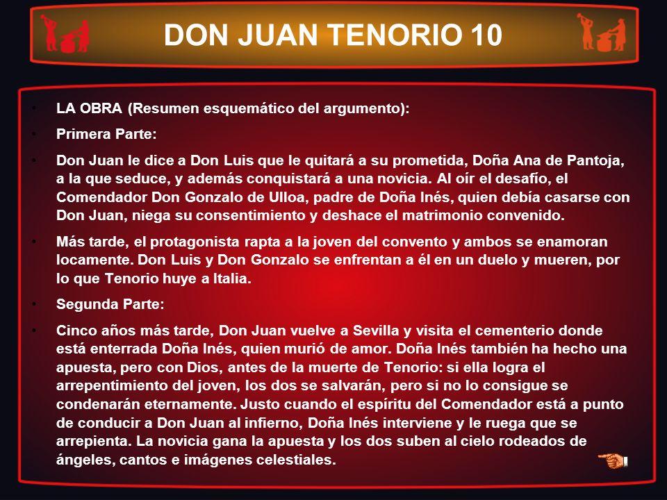 DON JUAN TENORIO 10 LA OBRA (Resumen esquemático del argumento): Primera Parte: Don Juan le dice a Don Luis que le quitará a su prometida, Doña Ana de