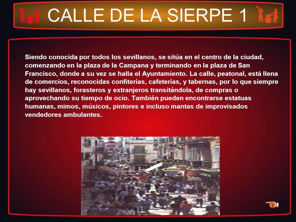 CALLE DE LA SIERPE 1 Siendo conocida por todos los sevillanos, se sitúa en el centro de la ciudad, comenzando en la plaza de la Campana y terminando e