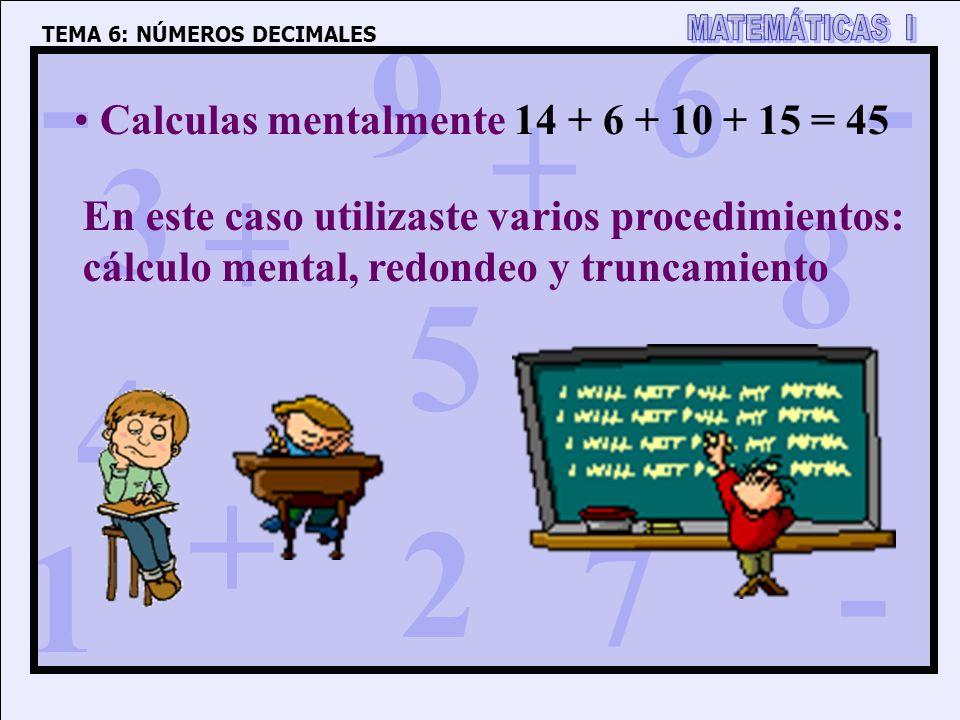 1 4 3 5 2 6 7 8 9 0 + + + + - - - TEMA 6: NÚMEROS DECIMALES Calculas mentalmente 14 + 6 + 10 + 15 = 45 En este caso utilizaste varios procedimientos: cálculo mental, redondeo y truncamiento