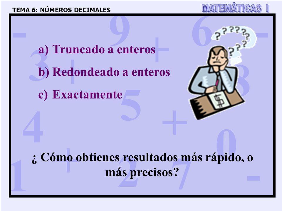 1 4 3 5 2 6 7 8 9 0 + + + + - - - TEMA 6: NÚMEROS DECIMALES a)Truncado a enteros b)Redondeado a enteros c)Exactamente ¿ Cómo obtienes resultados más r
