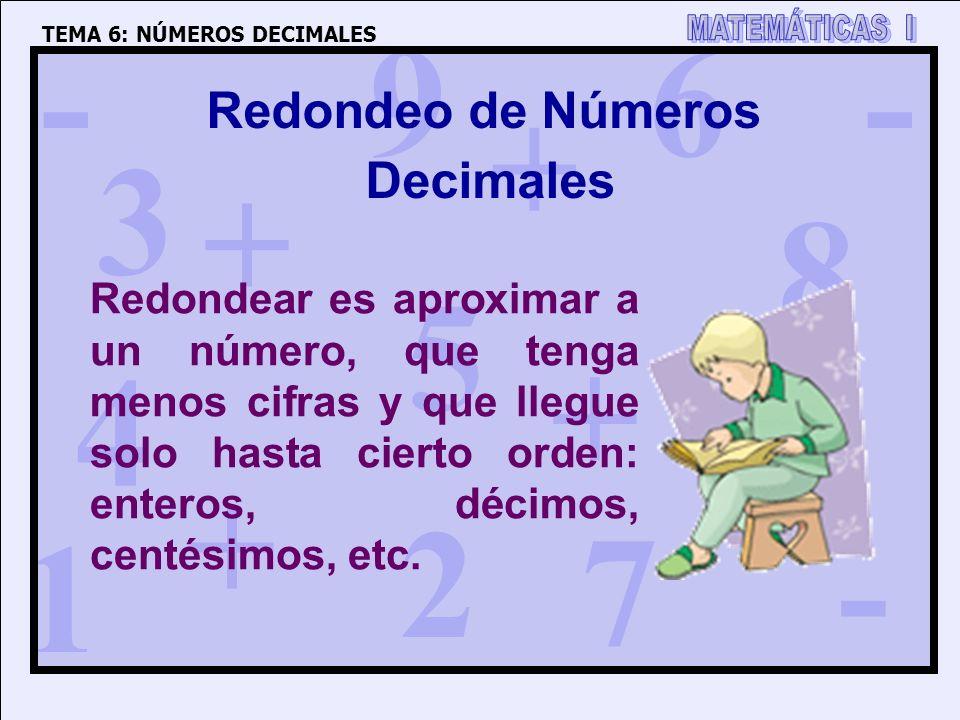 1 4 3 5 2 6 7 8 9 0 + + + + - - - Redondeo de Números Decimales Redondear es aproximar a un número, que tenga menos cifras y que llegue solo hasta cie