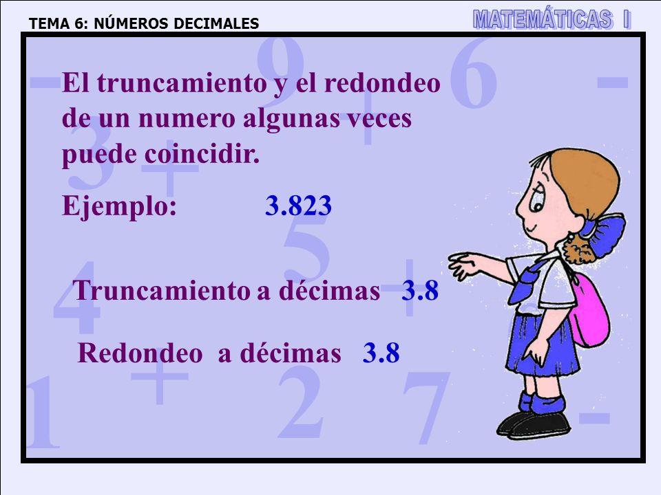 1 4 3 5 2 6 7 8 9 0 + + + + - - - TEMA 6: NÚMEROS DECIMALES El truncamiento y el redondeo de un numero algunas veces puede coincidir. Ejemplo: 3.823 T