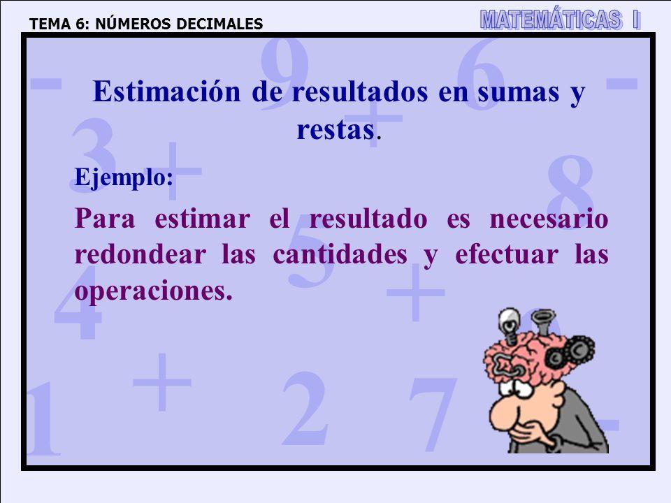 1 4 3 5 2 6 7 8 9 0 + + + + - - - TEMA 6: NÚMEROS DECIMALES Estimación de resultados en sumas y restas. Para estimar el resultado es necesario redonde