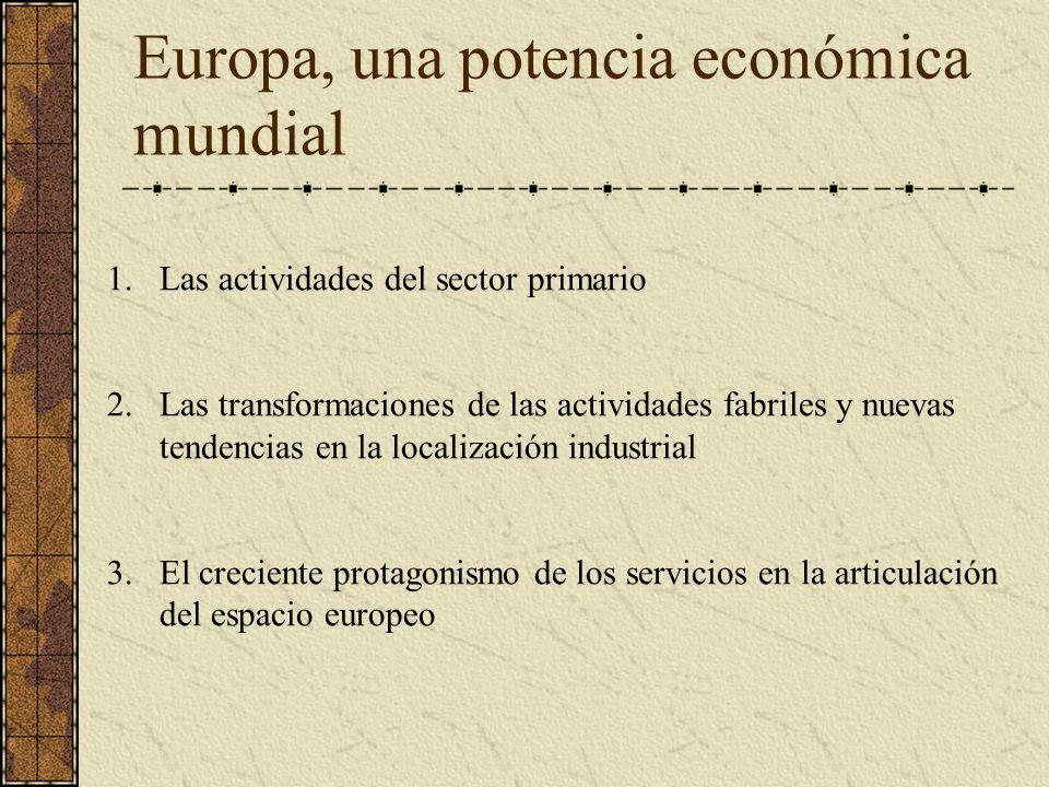 Europa, una potencia económica mundial 1.Las actividades del sector primario 2.Las transformaciones de las actividades fabriles y nuevas tendencias en la localización industrial 3.El creciente protagonismo de los servicios en la articulación del espacio europeo