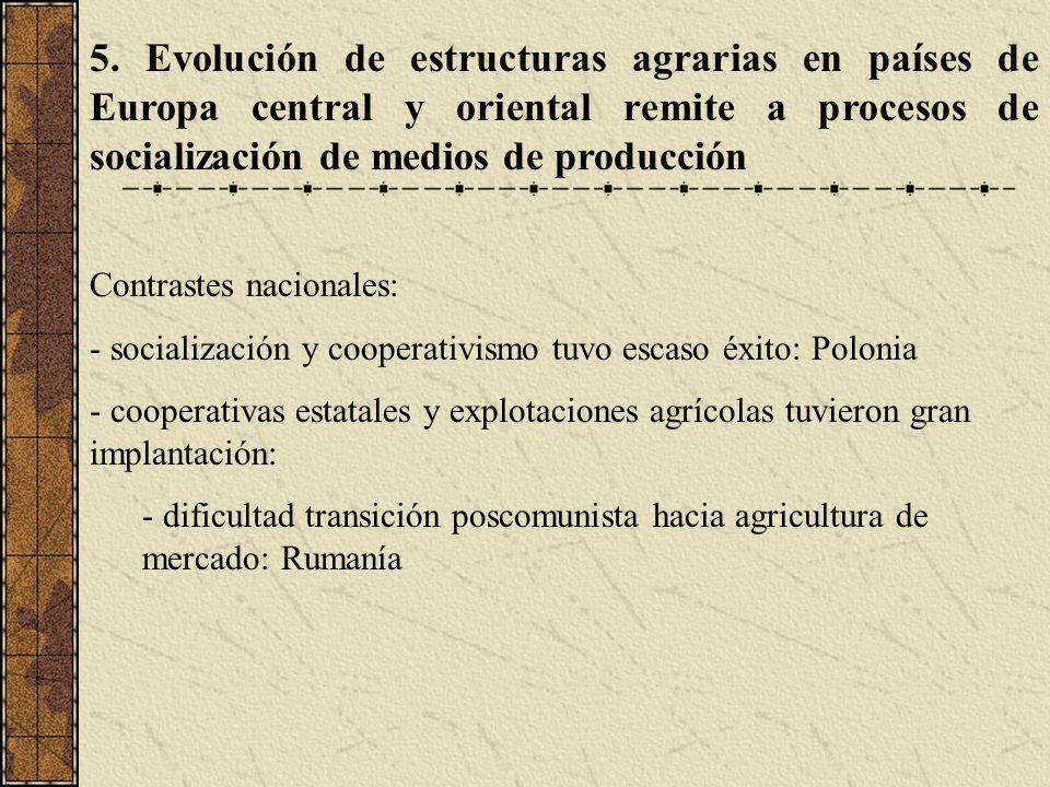 5. Evolución de estructuras agrarias en países de Europa central y oriental remite a procesos de socialización de medios de producción Contrastes naci