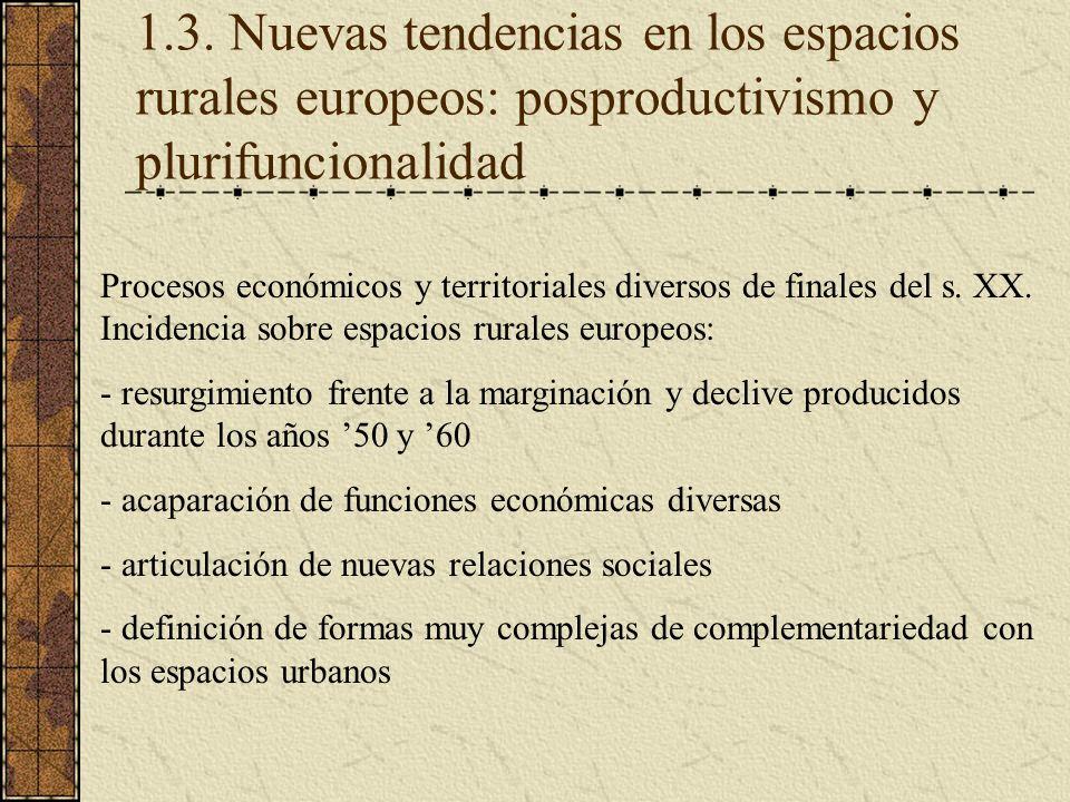 1.3. Nuevas tendencias en los espacios rurales europeos: posproductivismo y plurifuncionalidad Procesos económicos y territoriales diversos de finales