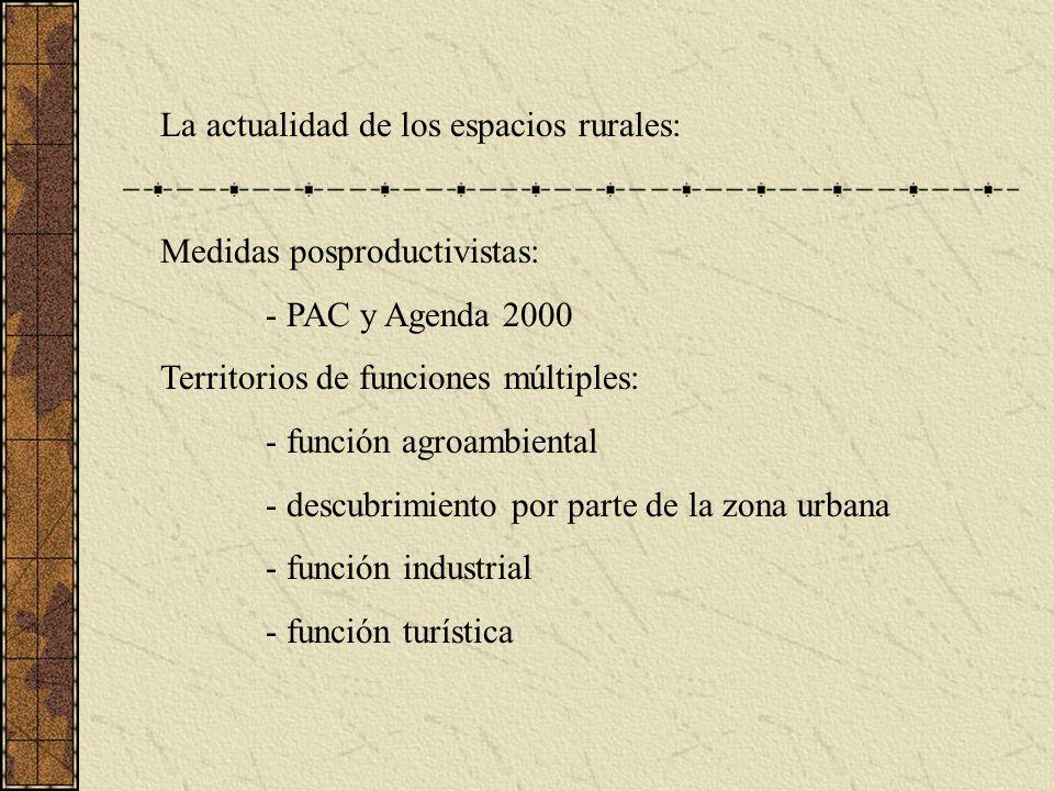 La actualidad de los espacios rurales: Medidas posproductivistas: - PAC y Agenda 2000 Territorios de funciones múltiples: - función agroambiental - descubrimiento por parte de la zona urbana - función industrial - función turística