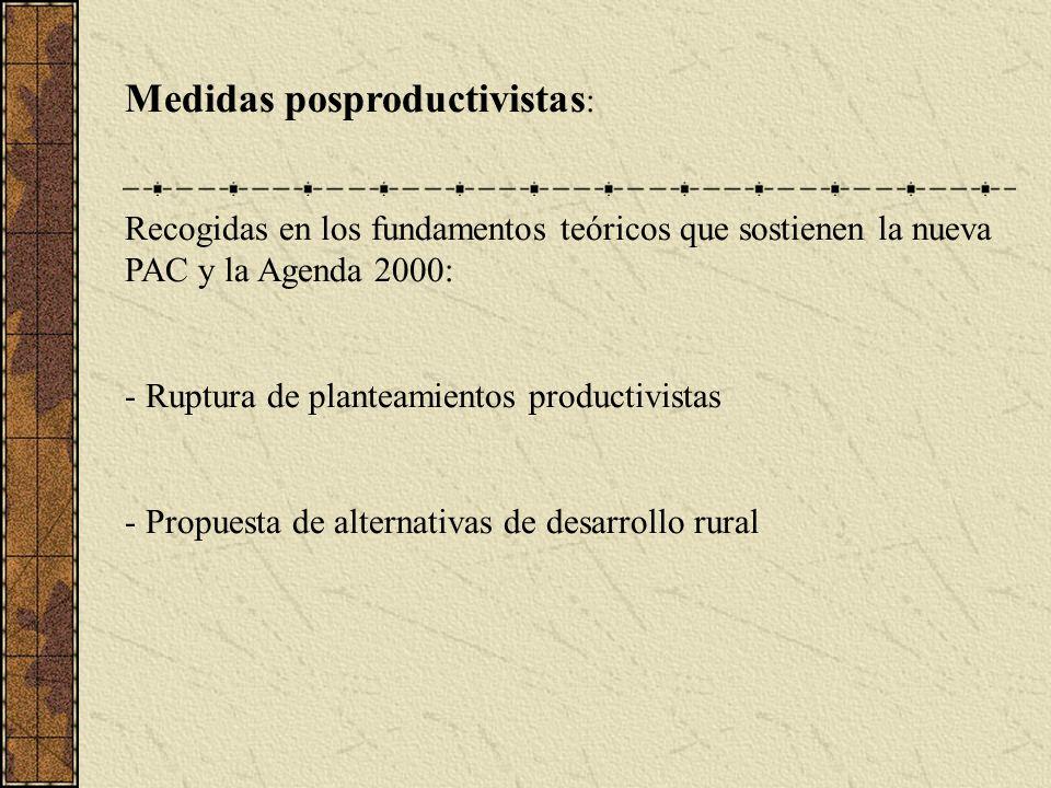 Medidas posproductivistas : Recogidas en los fundamentos teóricos que sostienen la nueva PAC y la Agenda 2000: - Ruptura de planteamientos productivistas - Propuesta de alternativas de desarrollo rural