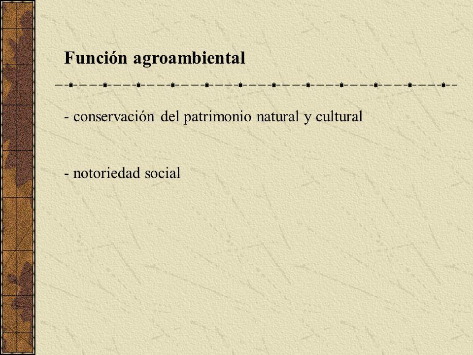 Función agroambiental - conservación del patrimonio natural y cultural - notoriedad social