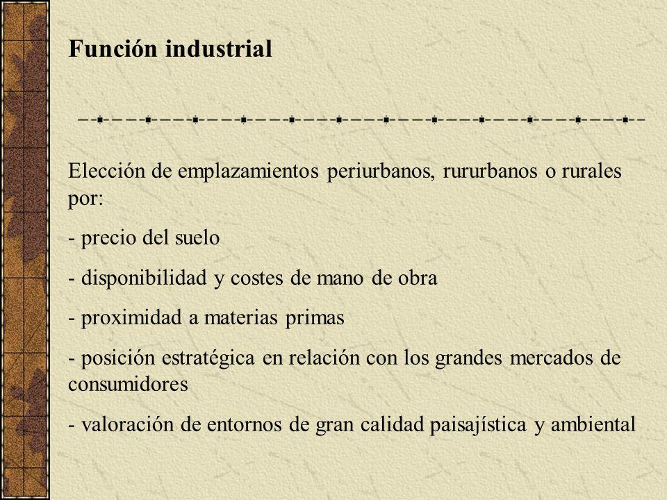 Función industrial Elección de emplazamientos periurbanos, rururbanos o rurales por: - precio del suelo - disponibilidad y costes de mano de obra - proximidad a materias primas - posición estratégica en relación con los grandes mercados de consumidores - valoración de entornos de gran calidad paisajística y ambiental