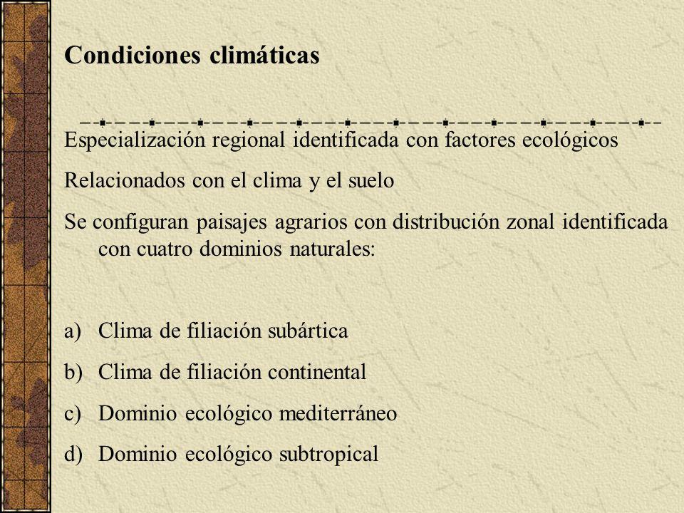Condiciones climáticas Especialización regional identificada con factores ecológicos Relacionados con el clima y el suelo Se configuran paisajes agrarios con distribución zonal identificada con cuatro dominios naturales: a)Clima de filiación subártica b)Clima de filiación continental c)Dominio ecológico mediterráneo d)Dominio ecológico subtropical