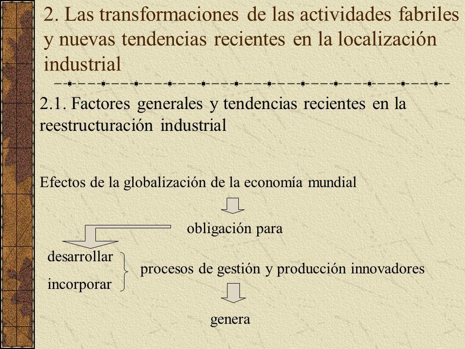 2. Las transformaciones de las actividades fabriles y nuevas tendencias recientes en la localización industrial 2.1. Factores generales y tendencias r
