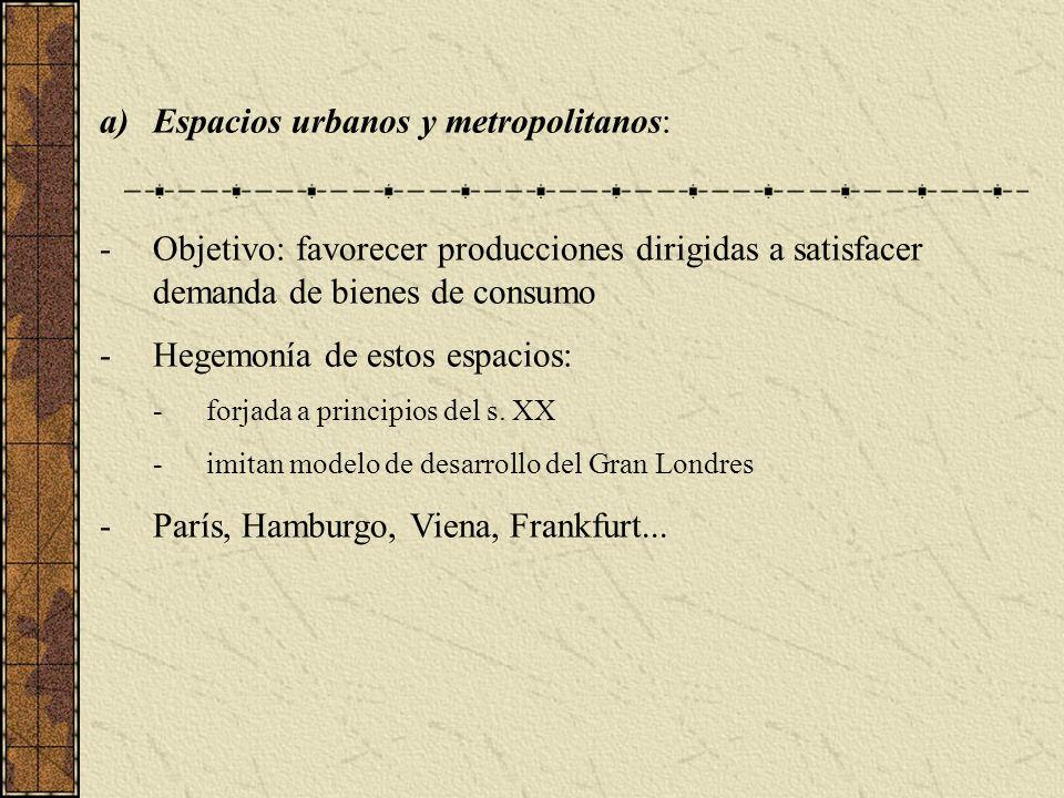a)Espacios urbanos y metropolitanos: -Objetivo: favorecer producciones dirigidas a satisfacer demanda de bienes de consumo -Hegemonía de estos espacios: -forjada a principios del s.
