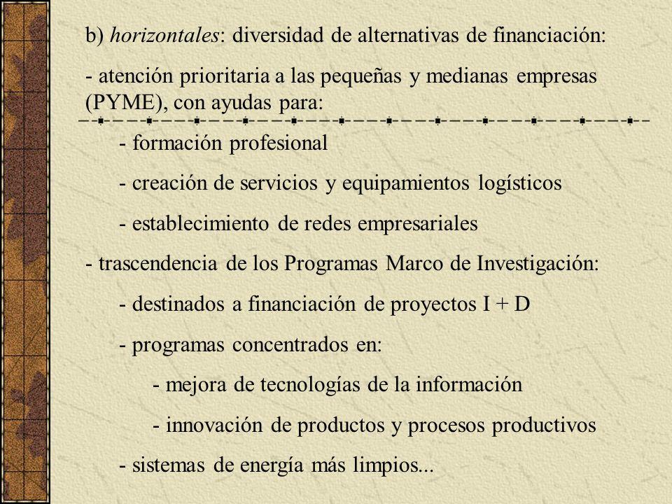 b) horizontales: diversidad de alternativas de financiación: - atención prioritaria a las pequeñas y medianas empresas (PYME), con ayudas para: - formación profesional - creación de servicios y equipamientos logísticos - establecimiento de redes empresariales - trascendencia de los Programas Marco de Investigación: - destinados a financiación de proyectos I + D - programas concentrados en: - mejora de tecnologías de la información - innovación de productos y procesos productivos - sistemas de energía más limpios...