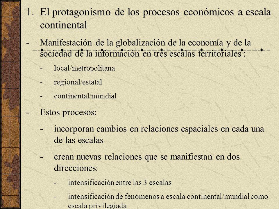 1.El protagonismo de los procesos económicos a escala continental -Manifestación de la globalización de la economía y de la sociedad de la información en tres escalas territoriales : -local/metropolitana -regional/estatal -continental/mundial -Estos procesos: -incorporan cambios en relaciones espaciales en cada una de las escalas -crean nuevas relaciones que se manifiestan en dos direcciones: -intensificación entre las 3 escalas -intensificación de fenómenos a escala continental/mundial como escala privilegiada