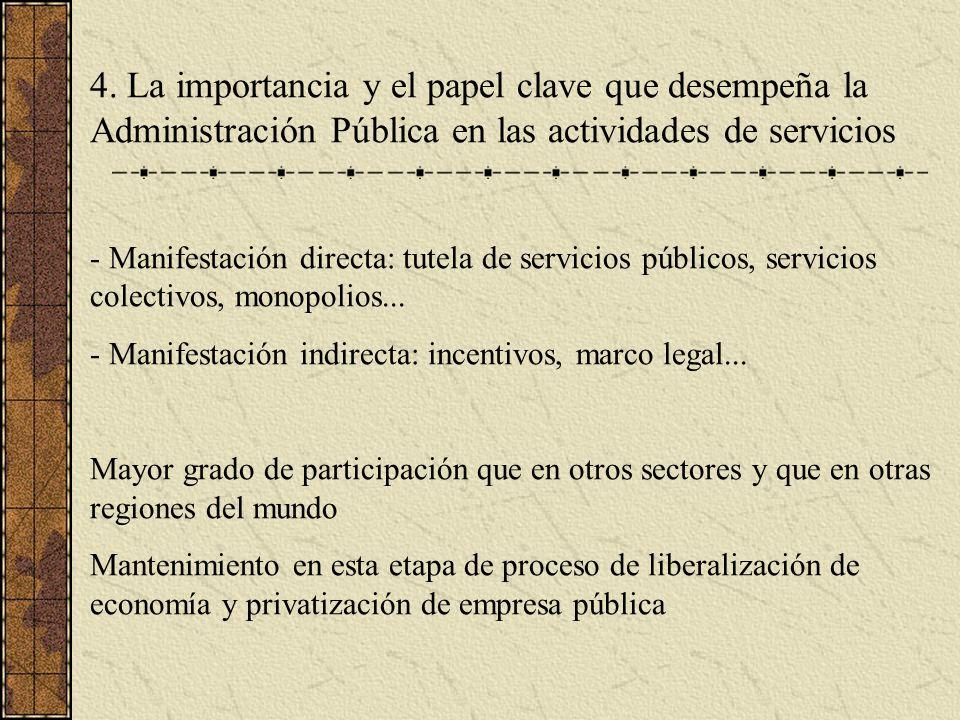 4. La importancia y el papel clave que desempeña la Administración Pública en las actividades de servicios - Manifestación directa: tutela de servicio