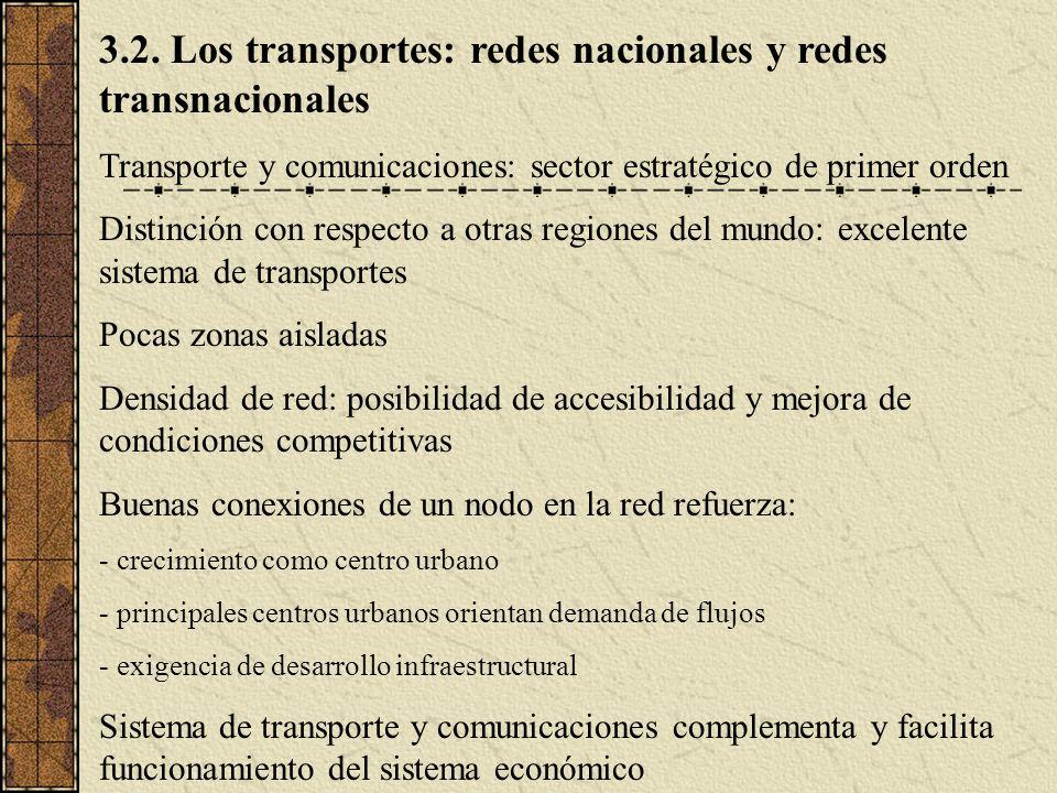 3.2. Los transportes: redes nacionales y redes transnacionales Transporte y comunicaciones: sector estratégico de primer orden Distinción con respecto
