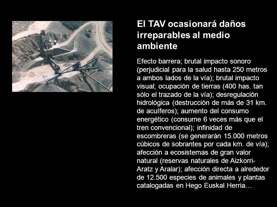 El TAV ocasionará daños irreparables al medio ambiente Efecto barrera; brutal impacto sonoro (perjudicial para la salud hasta 250 metros a ambos lados de la vía); brutal impacto visual; ocupación de tierras (400 has.