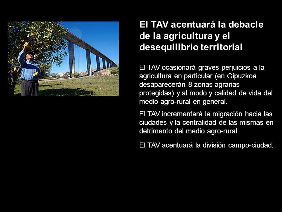 El TAV acentuará la debacle de la agricultura y el desequilibrio territorial El TAV incrementará la migración hacia las ciudades y la centralidad de l