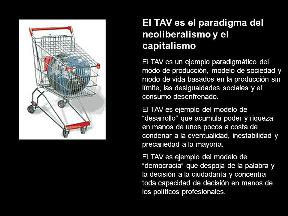 El TAV es el paradigma del neoliberalismo y el capitalismo El TAV es un ejemplo paradigmático del modo de producción, modelo de sociedad y modo de vida basados en la producción sin límite, las desigualdades sociales y el consumo desenfrenado.