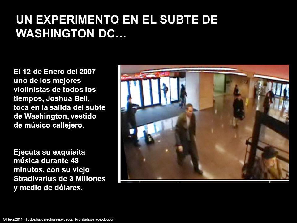 UN EXPERIMENTO EN EL SUBTE DE WASHINGTON DC… El 12 de Enero del 2007 uno de los mejores violinistas de todos los tiempos, Joshua Bell, toca en la sali