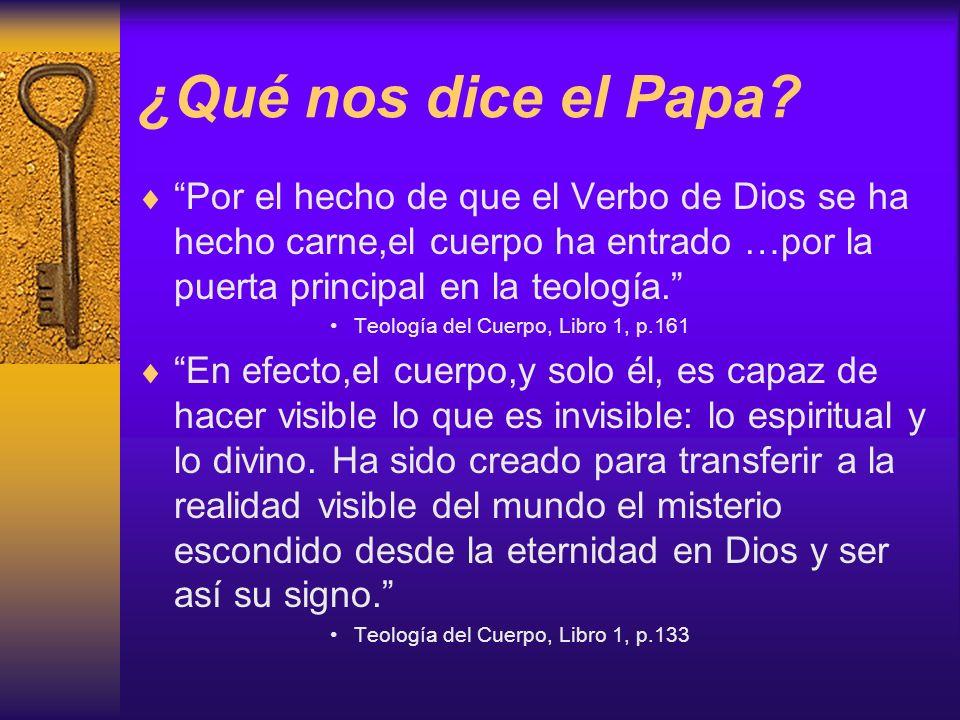 ¿Qué nos dice el Papa? Por el hecho de que el Verbo de Dios se ha hecho carne,el cuerpo ha entrado …por la puerta principal en la teología. Teología d