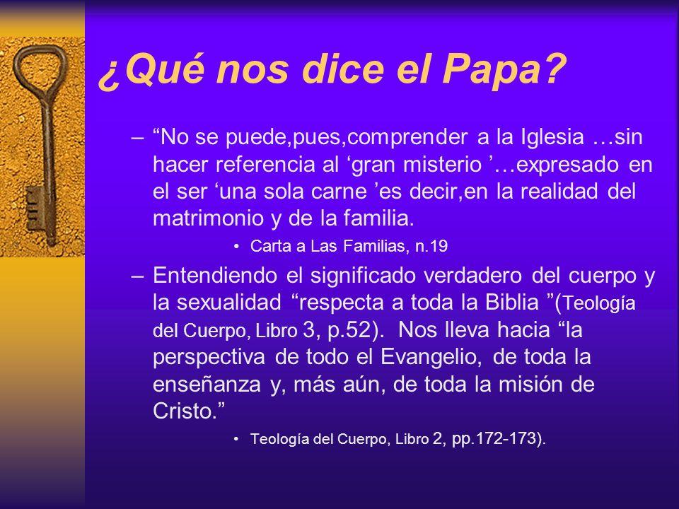 ¿Qué nos dice el Papa? –No se puede,pues,comprender a la Iglesia …sin hacer referencia al gran misterio …expresado en el ser una sola carne es decir,e