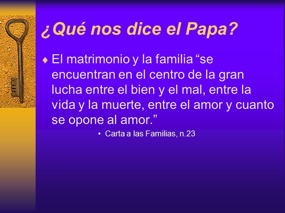 ¿Qué nos dice el Papa? El matrimonio y la familia se encuentran en el centro de la gran lucha entre el bien y el mal, entre la vida y la muerte, entre