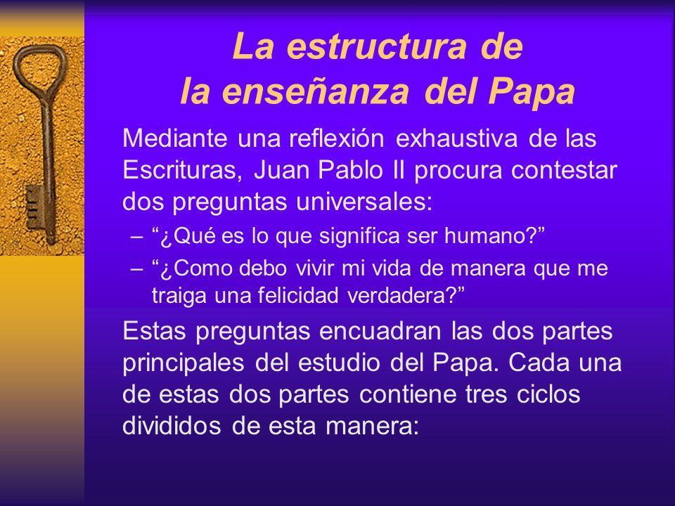 La estructura de la enseñanza del Papa Mediante una reflexión exhaustiva de las Escrituras, Juan Pablo II procura contestar dos preguntas universales: