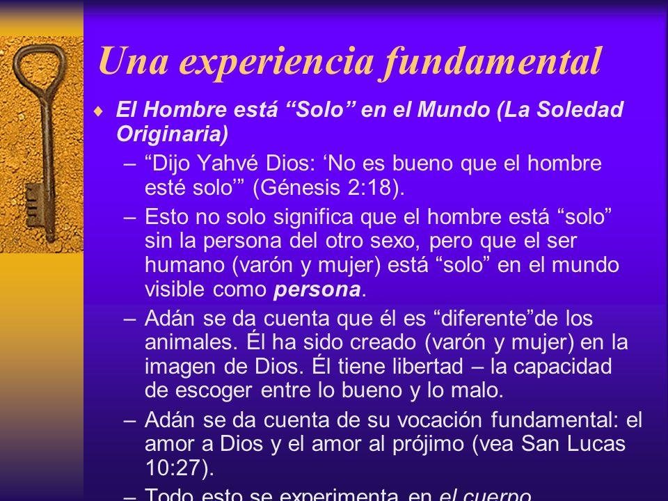 Una experiencia fundamental El Hombre está Solo en el Mundo (La Soledad Originaria) –Dijo Yahvé Dios: No es bueno que el hombre esté solo (Génesis 2:1