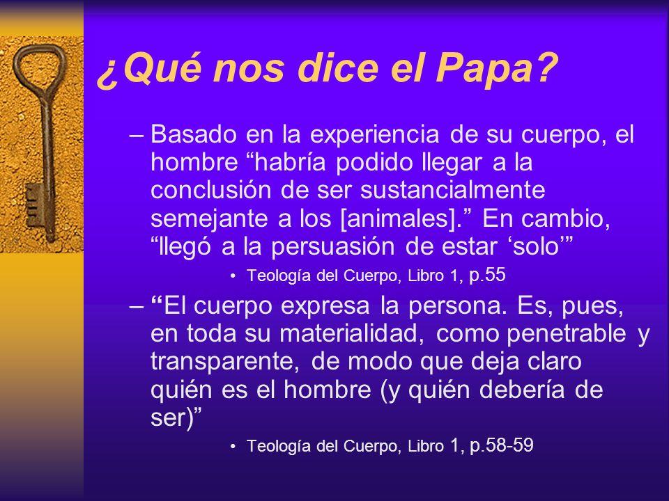 ¿Qué nos dice el Papa? –Basado en la experiencia de su cuerpo, el hombre habría podido llegar a la conclusión de ser sustancialmente semejante a los [