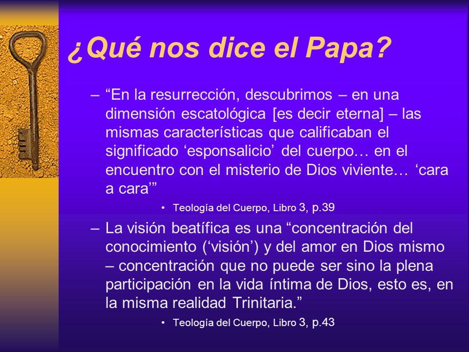 ¿Qué nos dice el Papa? –En la resurrección, descubrimos – en una dimensión escatológica [es decir eterna] – las mismas características que calificaban