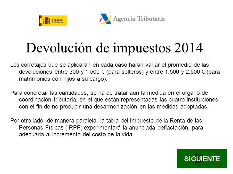 Devolución de impuestos 2014 A partir del próximo mes de junio se modificarán las retenciones fiscales con la aplicación de una medida fiscal equivalente a la reducción de 400 prevista en el resto de España.