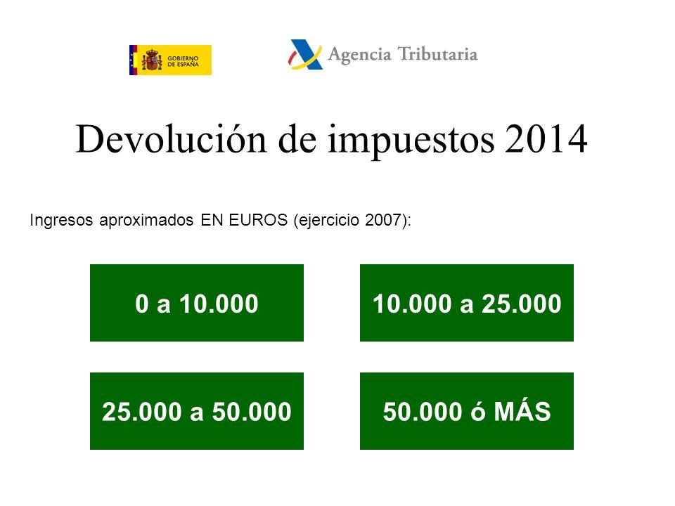 Devolución de impuestos 2014 Nº de hijos a su cargo: 01 23 ó MÁS