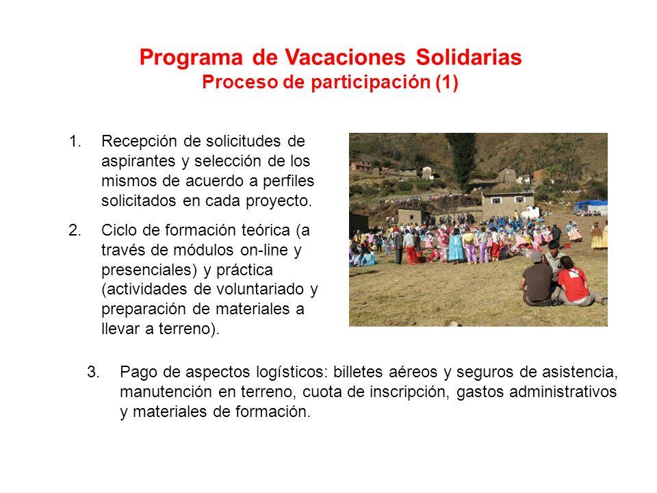 Programa de Vacaciones Solidarias Proceso de participación (1) 1.Recepción de solicitudes de aspirantes y selección de los mismos de acuerdo a perfiles solicitados en cada proyecto.